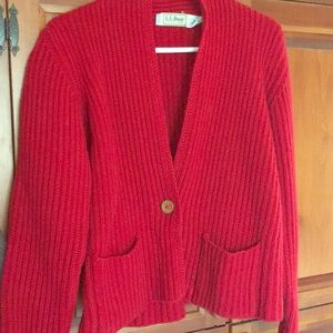 L.L. Bean red cardigan sweater